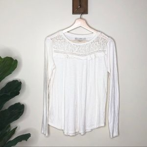 Loft white ruffle lace long sleeved shirt